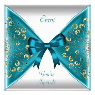 Partido branco do evento do arco do ouro azul eleg convite