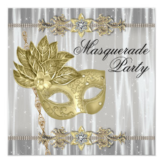 Partido branco preto do mascarada do ouro convites personalizado
