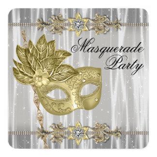 Partido branco preto do mascarada do ouro convite quadrado 13.35 x 13.35cm