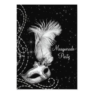Partido branco preto elegante do mascarada convite 12.7 x 17.78cm