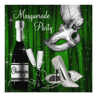 Partido branco preto verde elegante do mascarada convite quadrado 13.35 x 13.35cm