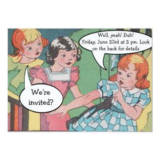 Partido cómico dos desenhos animados retros convite 12.7 x 17.78cm