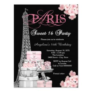Partido cor-de-rosa do doce 16 de Paris Convite 10.79 X 13.97cm