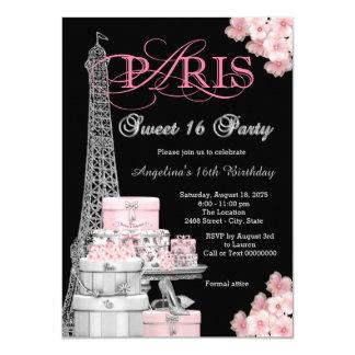 Partido cor-de-rosa do doce 16 de Paris Convite 11.30 X 15.87cm