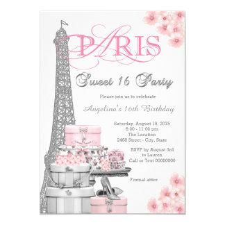 Partido cor-de-rosa do doce 16 de Paris Convite 12.7 X 17.78cm
