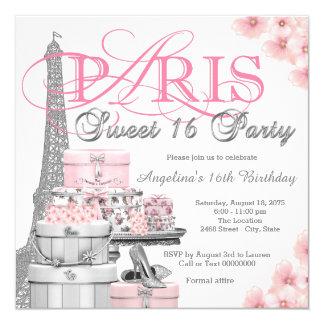 Partido cor-de-rosa do doce 16 de Paris Convite Quadrado 13.35 X 13.35cm
