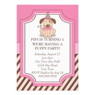 Partido cor-de-rosa do filhote de cachorro convite