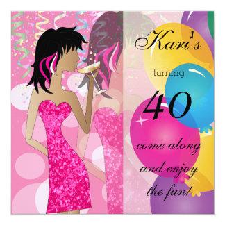 Partido da festança do aniversário de 40 anos convite quadrado 13.35 x 13.35cm
