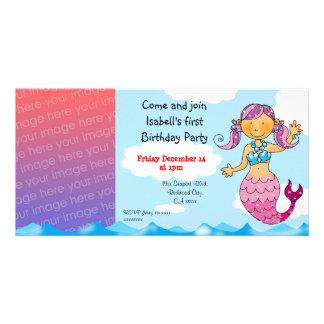 Partido da menina da sereia do primeiro aniversari cartão com fotos personalizado