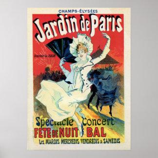 partido da noite do de Paris do jardin da época do Pôster