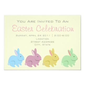 Partido da páscoa - coelhos amarelos & verdes convite 12.7 x 17.78cm