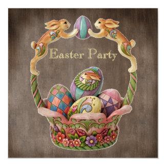 Partido da páscoa dos coelhinhos da Páscoa & dos Convite Quadrado 13.35 X 13.35cm