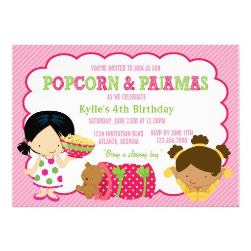 Partido da pipoca e do Sleepover dos pijamas Convites