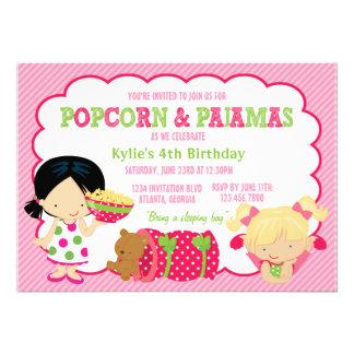 Partido da pipoca e do Sleepover dos pijamas Convite Personalizados
