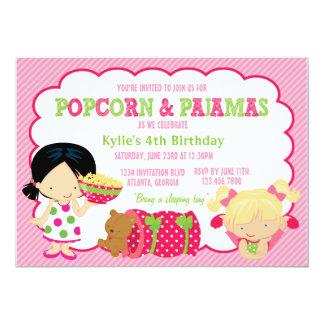 Partido da pipoca e do Sleepover dos pijamas Convite 12.7 X 17.78cm