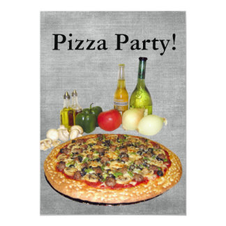 Partido da pizza convite 12.7 x 17.78cm