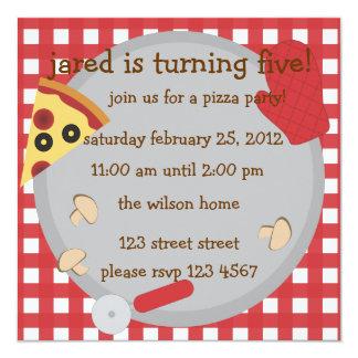 Partido da pizza!. convite quadrado 13.35 x 13.35cm