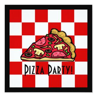 Partido da pizza da fatia da pizza convite personalizado