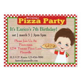 Partido da pizza dos meninos convite 12.7 x 17.78cm