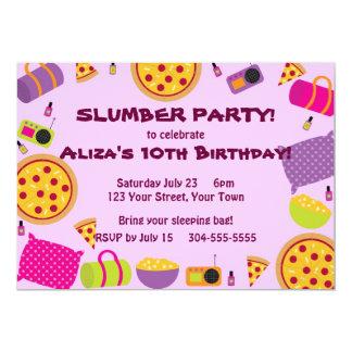 Partido da pizza e de pijama convite personalizados