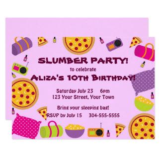 Partido da pizza e de pijama convite 12.7 x 17.78cm