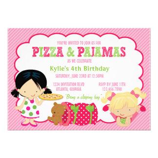 Partido da pizza e do Sleepover dos pijamas Convite Personalizado