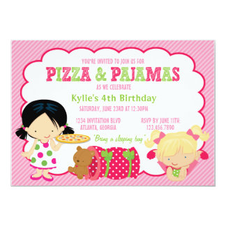 Partido da pizza e do Sleepover dos pijamas Convite 12.7 X 17.78cm
