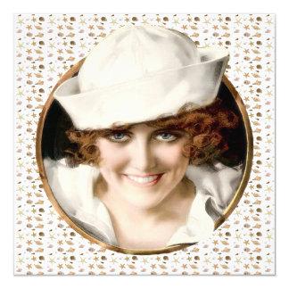 partido da praia da menina do marinheiro do 1920 convites personalizado