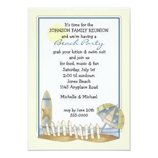 Partido da praia da reunião de família convite 12.7 x 17.78cm