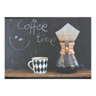 Partido da reunião do tempo do café convite 12.7 x 17.78cm