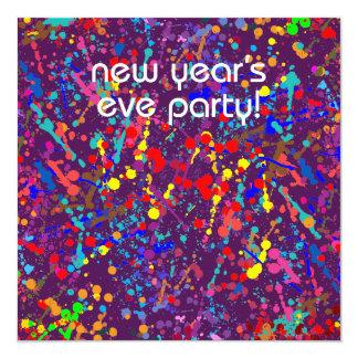 Partido da véspera de Ano Novo, arte da pintura da Convite Quadrado 13.35 X 13.35cm