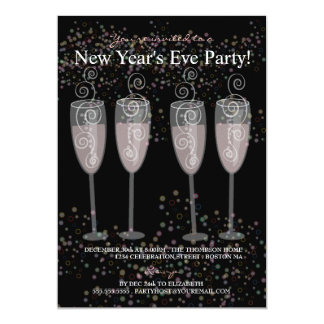 Partido da véspera de Ano Novo de Champagne & de Convite 12.7 X 17.78cm