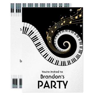 Partido das chaves do piano e das notas da música convite 12.7 x 17.78cm