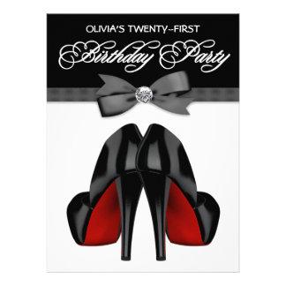 Partido de aniversário de 21 anos da mulher preta convites personalizado