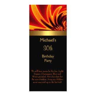 Partido de aniversário de 30 anos do preto do ouro convite 10.16 x 23.49cm