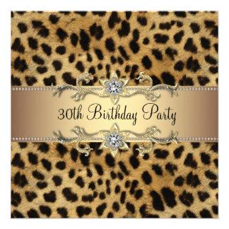 Partido de aniversário de 30 anos elegante do leop convites personalizados