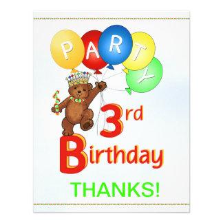 Partido de aniversário de 3 anos BearThank você Convites Personalizado