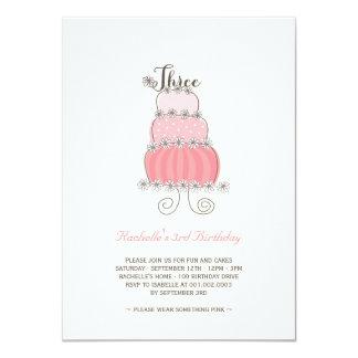 Partido de aniversário de 3 anos cor-de-rosa convite 11.30 x 15.87cm