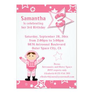 Partido de aniversário de 3 anos cor-de-rosa das convite 12.7 x 17.78cm