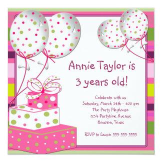 Partido de aniversário de 3 anos cor-de-rosa das convite quadrado 13.35 x 13.35cm