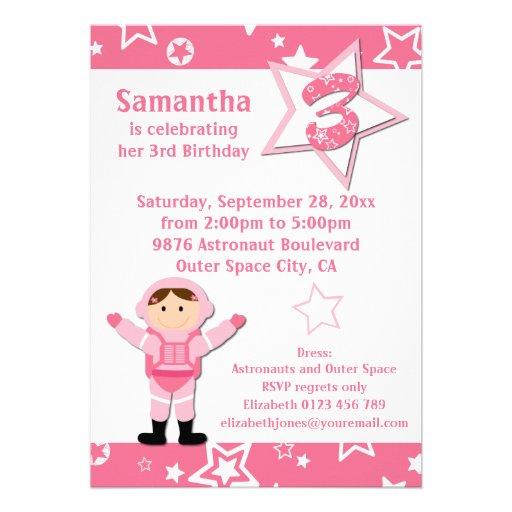 Partido de aniversário de 3 anos cor-de-rosa das e convites personalizados
