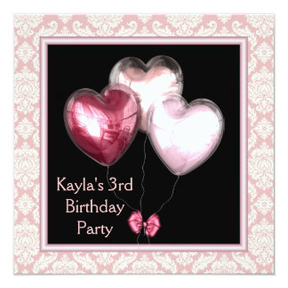 Partido de aniversário de 3 anos cor-de-rosa do convite quadrado 13.35 x 13.35cm