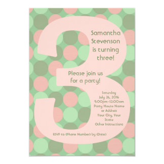 Partido de aniversário de 3 anos da menina grande convite 12.7 x 17.78cm