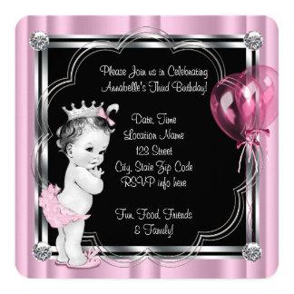 Partido de aniversário de 3 anos da princesa convite quadrado 13.35 x 13.35cm