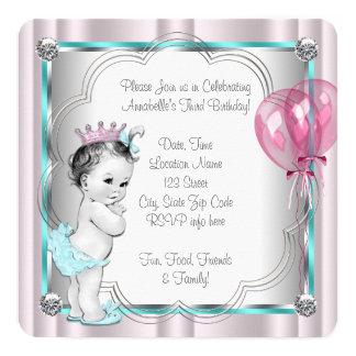 Partido de aniversário de 3 anos das meninas convite quadrado 13.35 x 13.35cm
