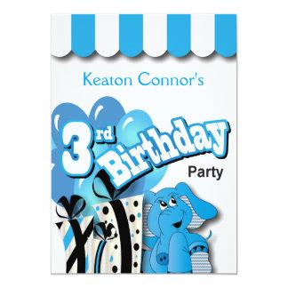Partido de aniversário de 3 anos de Little Boy Convite 12.7 X 17.78cm