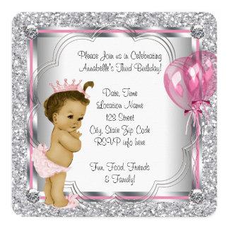 Partido de aniversário de 3 anos do rosa e da convite quadrado 13.35 x 13.35cm