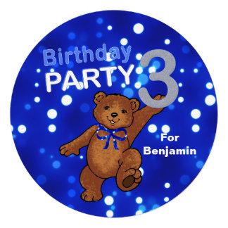 Partido de aniversário de 3 anos do urso de ursinh convite personalizados