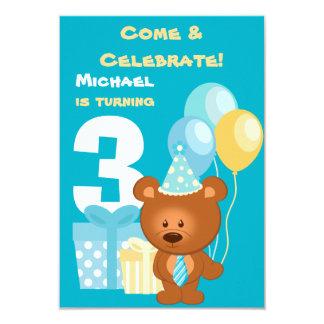 Partido de aniversário de 3 anos do urso e dos convite 8.89 x 12.7cm