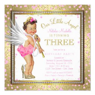 Partido de aniversário de 3 anos pequeno doce das convite quadrado 13.35 x 13.35cm